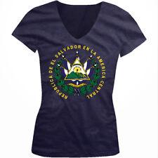 Republica De El Salvador America Central Dios Libertad SV Juniors V-Neck T-Shirt