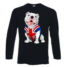 BRITISH BULLDOG LONG SLEEVE T-SHIRT - Union Jack Bull Dog - Choice Of Colours