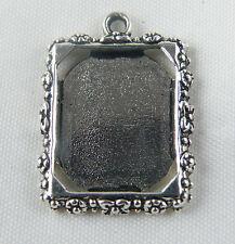30/1000 Tibetan Silver Rectangle Frame Pendants 25x18.5mm 689