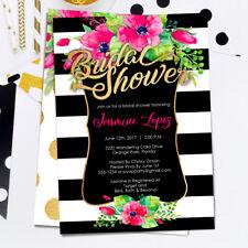 Kate Spde Inspired Bridal Shower Invitations / Black White Striped / Floral Gold