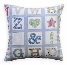 LL412a Blue White Light Blue Beige English Words Cotton Canvas Cushion Cover