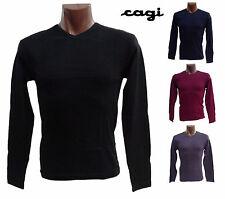 T-SHIRT, Maglietta Manica Lunga, scollo V. Uomo. CAGI 5384 Caldo Cotone.