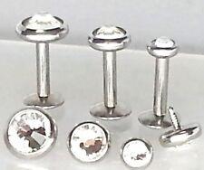 16g 3, 4 or 5mm Clear Gem Tragus Cartilage TRIPLE FORWARD HELIX Ear Stud Jewelry