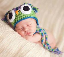 NEW INFANT BABY CROCHET OWL EAR FLAP HAT cap beanie knit toddler photo prop USA