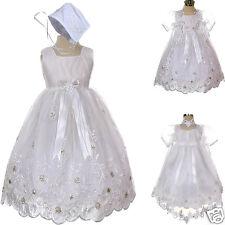 New Baby Infant Girl Toddler Christening Baptism Bonnet Formal Dress White 0-18M