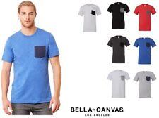 maglietta t-shirt uomo manica corta con taschino bella+canvas cotone maglia