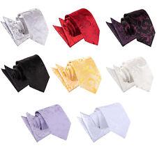 DQT New Jacquard Passion Floral Necktie Wedding Business Prom Men's Tie & Hanky