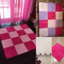 10Pcs Interlocking Play Puzzle Mat Plush Cotton EVA Foam Kids Play Flooring Mats