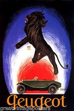 PEUGEOT CAR LION FRENCH CAPPIELLO VINTAGE POSTER REPRO
