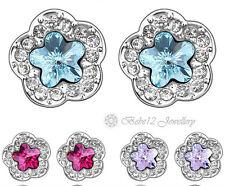 Crystal Flower Stud Earring/Purple/Blue/Pink/RGE100/101/215