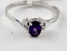 L39 Amethyst Ring 925 rhodiniertes Silber Oval Schliff mit Silber Stern
