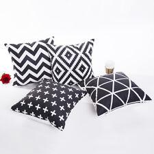 Schwarz Weiß Muster Kissenbezug Kissenhülle Dekokissen 45x45cm Reißverschluss