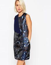 NWT $159 Designer Premium `WHITE' label Italian Jacquard DRESS French Navy
