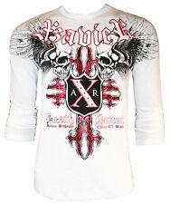 XZAVIER [HORROR SKULL] LONGSLEEVE T-SHIRT FOIL MMA BIKER HARLEY ROCKER