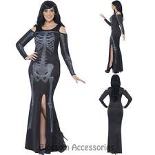 CL945 Ladies Curves Skeleton Bones Halloween Fancy Dress Goth Skull Plus Costume