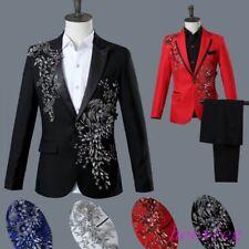 Formal Men Suits Blazer Trousers Rhinestones Nightclub Wedding Coat Pants Size #