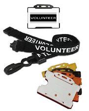 Tarjeta de identidad de voluntarios negro con cordón para + soporte tarjeta de identificación impreso.