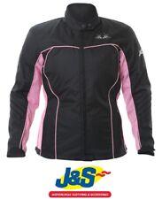 J&S TRACY LADIES TEXTILE WATERPROOF MOTORBIKE MOTORCYCLE JACKET WOMEN BLACK PINK