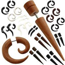 2 Finto Espirales Estensor falso piercing oreja fakeplug dilatador madera hueso