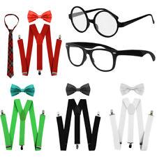 GEEK NERD COSTUME SET TIE BRACES GLASSES SCHOOL DAYS FANCY DRESS MENS WOMENS LOT