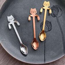 1PC Stainless Steel Cute Cat Coffee Drink Spoon Hanging Cups Teaspoon Tableware
