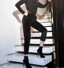 Femme Leggings Matignon en velours lisse avec bandes latéraux satin art Jade 3ef20256bb8