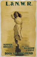 TX223 Vintage L.& N.W.R Railway Wicklow Coast Travel Poster RePrint A2/A3