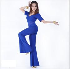NEW Siamesed Blouse+Long Pants 2 pcs set Belly Dance Costumes Practice Dancewear