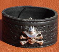Celtic Knot cuir véritable noir crâne bracelet bracelet manchette concho 38mm de large