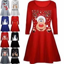 Kids Xmas Smiley Reindeer Hat Snowfall Flared Christmas Girls Swing Mini Dress