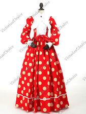 Victorian Maiden Minnie Polka Dot Civil War Dress Theater Reenactment Gown 191