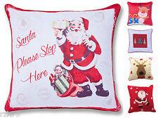 Christmas Festive Design Cushion Cover, 43 x 43 cm, Santa Reindeer Xmas Retro