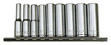 """METRINCH 1/4'' Socket Spanners Set 0.20 - 0.51"""" 9 Pt Deep Long MET-0230 Cliprail"""