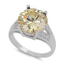 Nuevo 14K Blanco Vermeil 7CTW Amarillo Solitaria + Transparente Cz Ring-Bridal