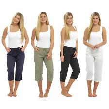 Damas Mujeres Pantalones De Lino 3 cuarto Recortada Pantalones Cortos de Verano 3/4 Relaxed Fit
