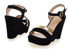 Sandali donna aperti nero oro  zeppa plateau 11.5 cm eleganti e comodi 9236
