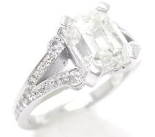 2.54CT EMERALD CUT DIAMOND ENGAGEMENT RING SPLIT SHANK W PAVE ROUND DIAMONDS E22