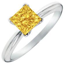 3.0 ct Princess Cut Yellow Stone Wedding Bridal Promise Ring 14k White Gold