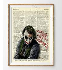 The Joker Heath Ledger Dictionary Art Print Poster Batman Dark Knight Vintage