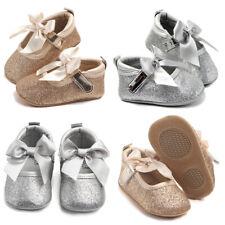 Baby Girls Soft Sole Crib Bowknot Shoes Flat Non-slip Pram Princess Shoes