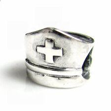 Sterling Silver Nurse Cap with Cross Bead for European Charm Bracelets