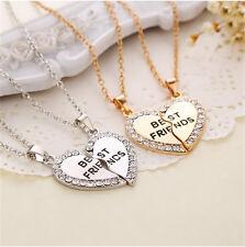 New Fashion Splice Heart Pendant Best Friend Letter Necklace Women's Jewelry GY
