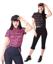 SugarShock Palia retro style Tartan Bluse Damen Karo Hemd