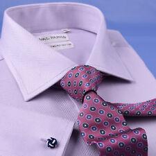 Sexy Lilac Herringbone Dress Shirt Formal Banker Stylish French Double Cuff
