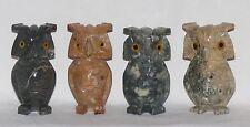 Eule 8 cm, Speckstein Tier, grau braun beige, Weisheit Owl Uhu Nachtvogel Eulen