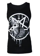 Darkside Unisex Satanic Pentagram Kitty Cat Vest Top Tattoo Biker Rock S-2xl