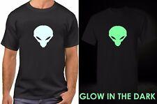 Alien UFO T-Shirt Glow in The Dark Tee  Sci-Fi Space Galaxy Planets Shirt