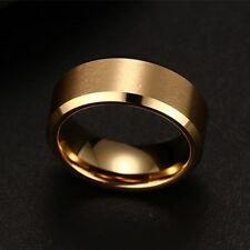 Unisex Oro Argento Nero Matrimonio Anello in Acciaio Inox Banda Fine 8mm Da Uomo Womans