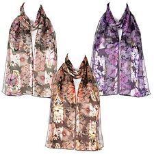Femmes écharpe en mousseline de satin motif florale châle