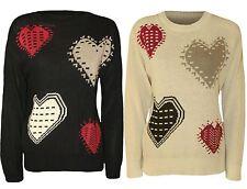 New Ladies Love Heart Print Winter Knit Wear Sweat Shirt Jumper Tops 8-14